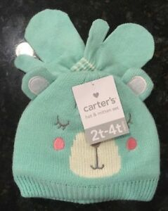 Carter's Girl Blue Bear Face Hat & Mitten Set - Size 2T - 4T NWT