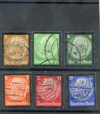 GERMANY Sc 436-41(MI 548-53)F-VF USED 1934 HINDENBURG MOURNING SET $21