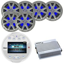 """Lanzar Bluetooth Receiver (W), 6 x 6.5"""" Dual Marine LED Speakers, 4-Channel Amp"""