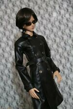 Black Leather Coat Long Men's Outfits For 1/3 24in Male BJD SD AOD DD DZ DOLL