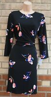 DKNY BLACK FLORAL PINK BLUE RUCHED WRAP SIDE BODYCON COCKTAIL PARTY DRESS 8 S