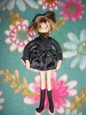Rare-Htf-Collectable-Clam p-Et-Al-Short brown Hair Big Green Eye Black Dress Doll