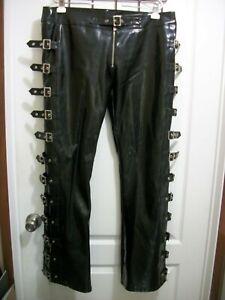 HILARYS VANITY A-Rider Pants Black PVC Gothic SteamPunk Cyber Rave Mens Sz 36/38