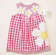 NWT Girls 2T Pink White Check Daisy Sleeveless Summer Dress Sundress