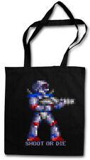 SHOOT OR DIE STOFFTASCHE Turrican Game Sprite Amiga Figur Robot Spiel Gamer