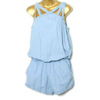 Fabletics Blue Cotton Sleeveless Pockets Romper Small