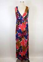 Daisy Fuentes Medium M Maxi Dress Floral Sleeveless Stretch Knit Women's