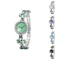 Creative Ladies Lucky Clover Crystal Quartz Wrist Watch Woman Fashion Bracelets