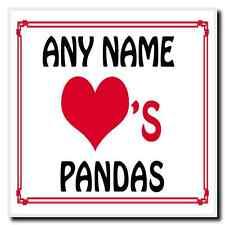 Love Heart Pandas Personalised Coaster