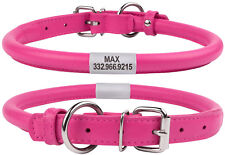 Rolled Leather Dog Collar Round Small Puppy Cat OPTIONAL Personalized ID Tag