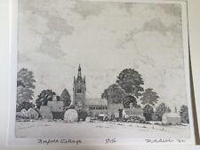 M R Bebb Norfolk Village  54/150   Drawing Etching Rare 1962 Black and White