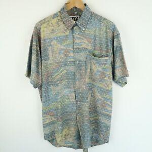 Vintage Mens 90S abstract crazy print festival shirt SIZE MEDIUM (E8734)