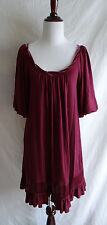 Juicy Couture Burgundy Mary Jane Shift Dress Velvet Ruffled Trim Bubble Sleeves