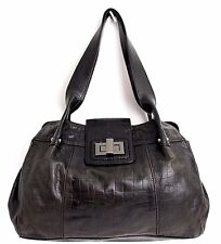ALFANI GRAY BLACK CROCO GRAIN GENUINE LEATHER CLASSIC SHOULDER BAG HANDBAG TOTE