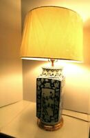 """Vintage Asian Blue and White Table Lamp 27"""""""