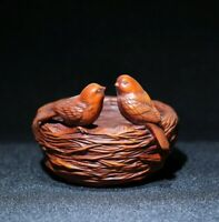Noble Decor natural Boxwood Carving Two birds in bird's nest statue figurines