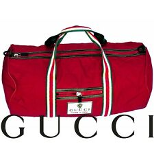 Authentic GUCCI Boston Gym Men's Duffle Bag Travel Weekender Classic Red Web