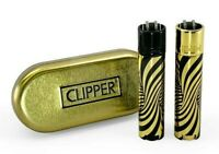 Full Size CLIPPER Flint Lighter Refillable METAL GOLD BLACK GRADIENT WAVE W Case