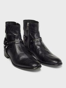 John Varvatos Eldridge Harness Boot Black Size 9 1/2 Made in Italy New in box