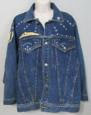 Women's Freego Dark Blue Denim Bedazzled Bead Studded Jean Jacket Size M Medium