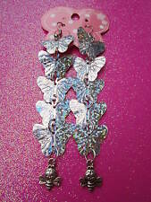 Silver Prism Sequin Butterfly and Bee Long Earrings  3 1/2 Inches Long USA