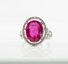 4f0bc878de9b Natural 6.16 Cts Rosa Rubí Anillo con Diamante 14k Oro Blanco Original  Diamantes