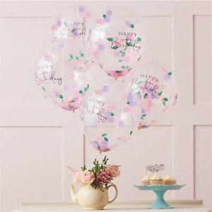 Happy Birthday Pastel Confetti Latex Balloons Tea Brunch Party Decorations x 5