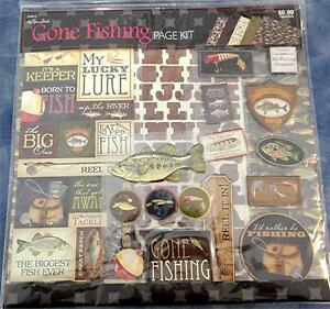 """Gone Fishing Page Kit, The Paper Studio, 12""""x12"""" Scrapbook Pages with Stickers"""