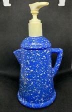 Vintage Avon Soap Dispenser Blue Country Style Coffee Pot Moisturized Hand Lotio