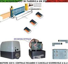 CANCELLO SCORREVOLE 6 Q.LI MOTORE 220 V CENTRALE 3 RADIOC RICAMBIO COMPAT. NICE