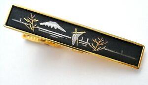 Vintage Amita Damascene Tie Clip Gold Plated Clasp Bar Men's Black Enamel