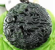 Black Green Jade Good fortune Dragon Amulet Pendant 023#