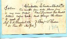 1868 CHARLESTON SC G H BENEDICT & CO BENJAMIN PARDEE $2 & 25 CENT REVENUE STAMPS