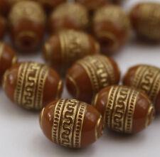 20 x caffè Oro Metallo Intagliati Gioielleria Perle 9 x 13mm