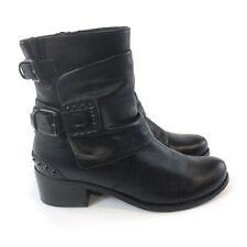 Kennel & Schmenger 38 UK5 Black Leather Ankle Zip Up Buckle Biker Rider Boots
