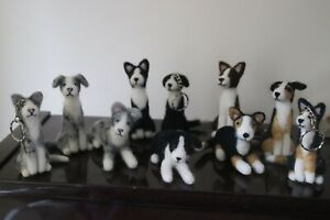 Needle Felted Border Collies Laying, Sitting and Keyrings. All colours Free P+P