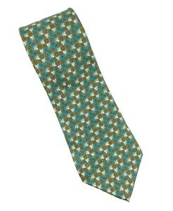 "Austen Grey Italian Silk Tie Geometric Print Green Silver Olive Orange 4"" x 58"""