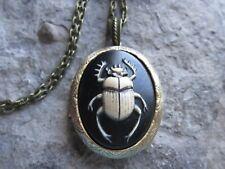 Hand Painted Beetle Cameo Bronze Pendant Locket -  Vintage Look - Scarab, Egypt