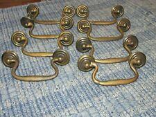 8 Matching Antique Victorian Brass Drawer Pulls & Original Nuts & Bolts