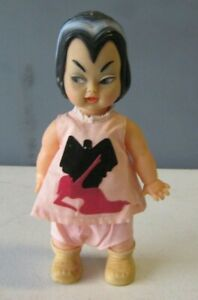 """1965 Ideal Lily Munster Little Monsters Vinyl Doll 8.5"""" tall Tagged Outfit #AD15"""