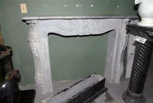 Nice French Design Hand Carved Marble Fireplace in Gorgeous Gray Marble