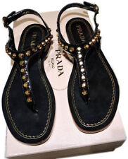 15fad78bbcd5 PRADA Black leather Gold Studded T-Strap Flat Shoes Thongs Slides Sandals 37