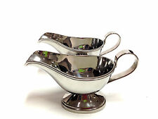 """Two 7.75"""" Stainless Steel Gravy Boats Beautiful Mirror Polish 7.75"""" Thanksgiving"""