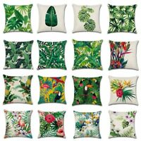 Africa Tropical Plant Printed Cushion Cover Green Leaves Linen Throw Case Pillow