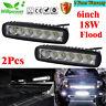 2x18w 6inch Flood LED Work Lights Bar Offroad Fog Car Driving Truck Headlight