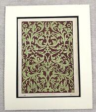 1859 Print Victorian Gothic Wallpaper Design Ornate Decor Antique Original