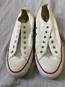 Converse All Star White Low Top red & black line VINTAGE Women's 8 tennis shoes