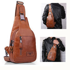 Crossbody Bag Men Ekphero Casual Genuine Leather Oil Wax Chest Bag