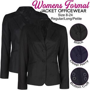 Womens Ladies Plain Formal Blazer Suit Jacket Officewear Workwear Two Button Up