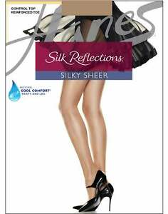 Hanes Reinforced Toe Pantyhose Silk Reflections Control Top 4-Pack Silky Sheer